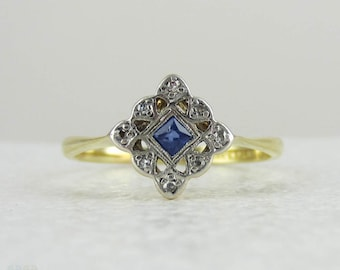 Antique Engagement Ring, French Cut Blue Sapphire in Pierced Filigree Square Setting, 18 Carat and Platinum.