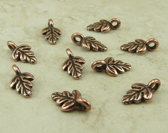 10 TierraCast Oak Leaf Charms - Copper Plated Lead Free Pewter - I ship internationally 2174