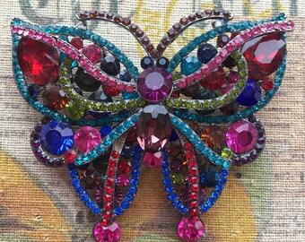 HUGE - Colourful Butterfly Brooch - Glass Rhinestone Brooch - Bright Statement Brooch