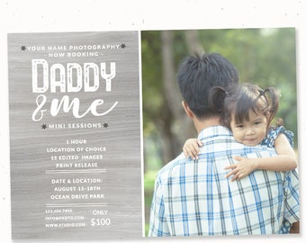 Father's day mini session template for flyer, Photography template marketing, Photoshop template, Daddy and me, Fathers day card for display