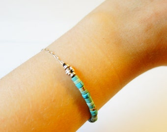 silver sterling solid turquoise stone handmade bracelet