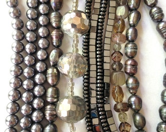 Hematite Beads Glass Pearls 22 Strands Silver Bead Lot  (Silver Lot 1)