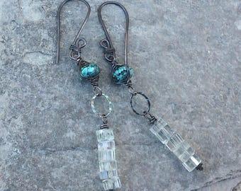 AQUAMARINE and TURQUOISE Earrings, woven earrings, blue gemstone jewelry, AngryHairJewelry