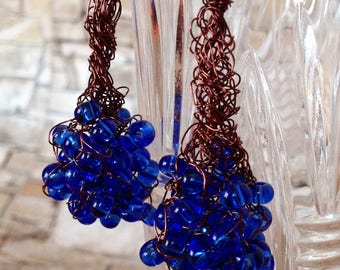 Blue crochet earrings Copper Wire Earrings Dangle Earrings Crochet Wire wrap Jewelry Earrings Bohemian Wire Wrapped Earrings Gift for her