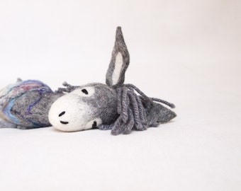 Felt Donkey - Henry.  Felted toy. Art Marionette Stuffed toy Felt Animal Waldorf doll soft plush toys. Handmade Puppet, Felted Animals. grey