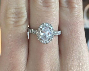 14k White Gold Oval Engagement Ring 0.50 ct Halo Setting with CZ in the center