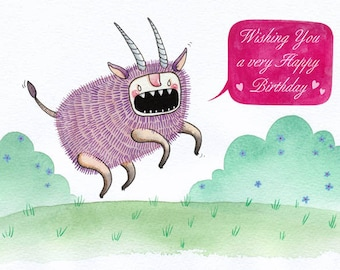 Birthday Ox - card - birthday beast creature happy funny humour rawr angry teeth horns oxen floral watercolor