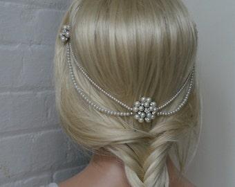 Wedding Headpiece with pearls - pearl hair comb bridal hair accessory - bohemian headpiece  - back of head hair drape