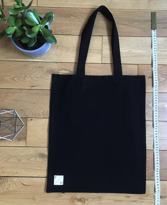 Heavyweight black brushed cotton Tote Bag with zip compartment