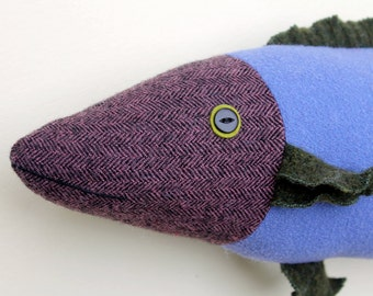 Purple wool fish pillow doll Upcycled Reclaimed Fabric