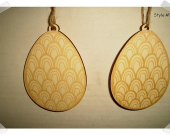 Wooden Egg Ornament- Set of 2/ *Three Styles to Choose from  /Unfinished/Craft Supplies*