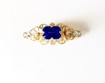 Sapphire blue barrette GOLD BARRETTE hair clip hair accessories bridal accessories flower hair clip rhinestone hair clip gold hair clip