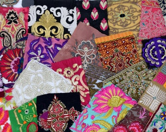 25 Boho Bohemian Embroidered Textured Indian Fabric Swatches Samples (Lucky Dip)