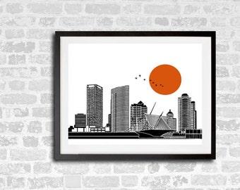 Milwaukee Skyline Print, New MKE Skyline