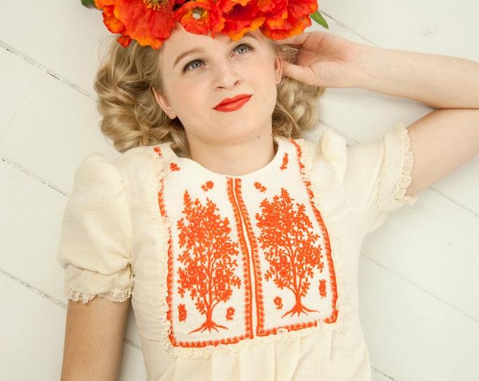 Vintage orange embroidered trees dress, ivory white gauze floral tree of life cotton short puffed sleeve boho retro maxi 1960s 1970s, XS S
