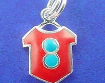 CLEARANCE - Red T SHIRT Enamel Charm .925 Sterling Silver Small  - c1282