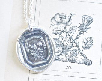 the thistle and the rose wax seal necklace - scottish thistle and english rose - outlander jewelry - silver antique wax seal jewelry