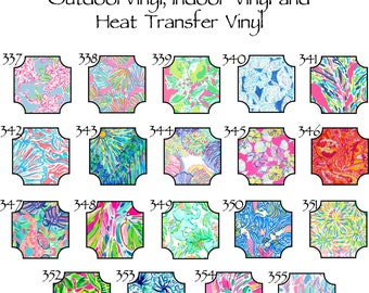 Outdoor Vinyl // Beautiful Patterned Outdoor, Indoor or Heat Transfer Vinyl Sheets in Patterns 337-355