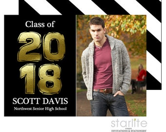 Black and Gold Graduation Announcement Cards, Graduation Invitation in Black and Gold, Photo Annoucement Card, Printable or Printed 2 sides