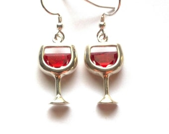 Red Wine Glass Earrings - Red Wine Earrings - Sterling Silver Wine Glass Earrings - Wine Glass Charm Earrings - Wine Lover - Epsteam