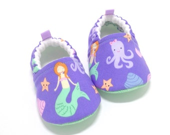 Mermaid Baby Shoes, Mermaid Baby Shower Gift, Mermaid Baby, Soft Sole Baby Shoes, baby moccasins, Toddler slippers, purple Baby booties