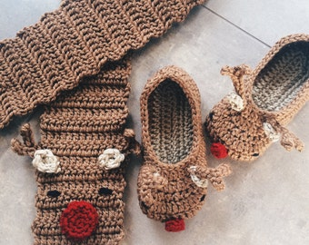 Slippers and Scarf Reindeer Set - crochet scarf and slippers gift set - reindeer gift set