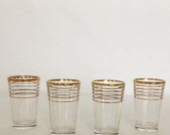 """Shot Drink Glass 3 fl. oz. Gold Rings Stands 3 1/8"""""""