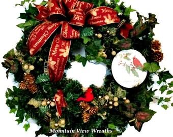 Christmas Wreath, Holiday Wreath,Cardinal Christmas,Traditional Christmas Wreath, Winter Wreath, Christmas Evergreen Wreath, Christmas Decor