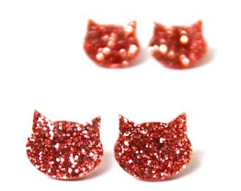 Glitter Cat Studs · Pink Glitter Cat Earrings · Light Pink Glitter Cat Earrings · Cat Earrings · 2 sizes