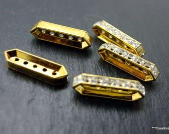 10 connectors vintage swarovski gold 26 x 8 mm