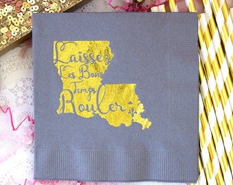 Wedding Napkins, Destination Wedding, Mardis Gras Wedding, New Orleans, Party Napkins, Paper Napkins, Foil Napkins, Custom Personalized