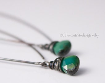 Turquoise and Oxidized Sterling Silver Earrings