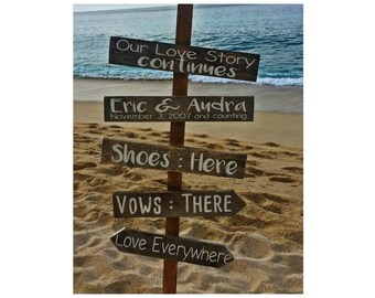 Shoes Here Vows There Love Everywhere Sign, Rustic Wedding Signs, Beach Wedding Signs, Directional Signs
