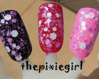 Pink Plum White Glitter Indie Pink Cloud Nail Polish Lacquer Handmade 2 Sizes Available