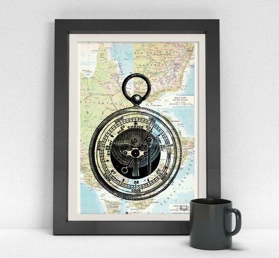 Old barometer print on Map Vintage Book Print Dictionary or Encyclopedia map invention Compass Print on Vintage art SEA022MPM