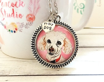Custom Dog Portrait Necklace - Sterling Necklace - For Ashley
