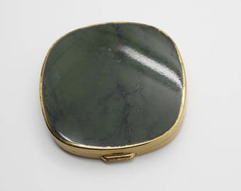 Square Vintage Brass Tone wih Green Top Mirror Powder Compact