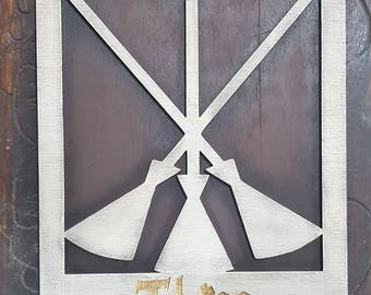 Harry Potter Three Broomsticks Wood Sign. Your favourite Inn just where you want. Made of Wood and Hand painted and aged for a movie look.