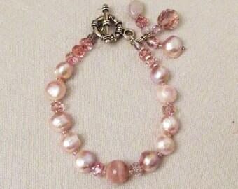 Pink Peruvian Opal Jewelry, Pink Peruvian Opal, Lavender Fresh Water Pearls, Handmade Bracelet, Dangle Bracelet, Healing Gemstones, Pink Gem