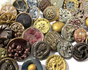 Victorian Buttons VINTAGE Buttons FIFTY (50) Assorted Buttons Picture Floral Tinted Mirror Rim Wedding Jewelry Sewing Supplies (D272)