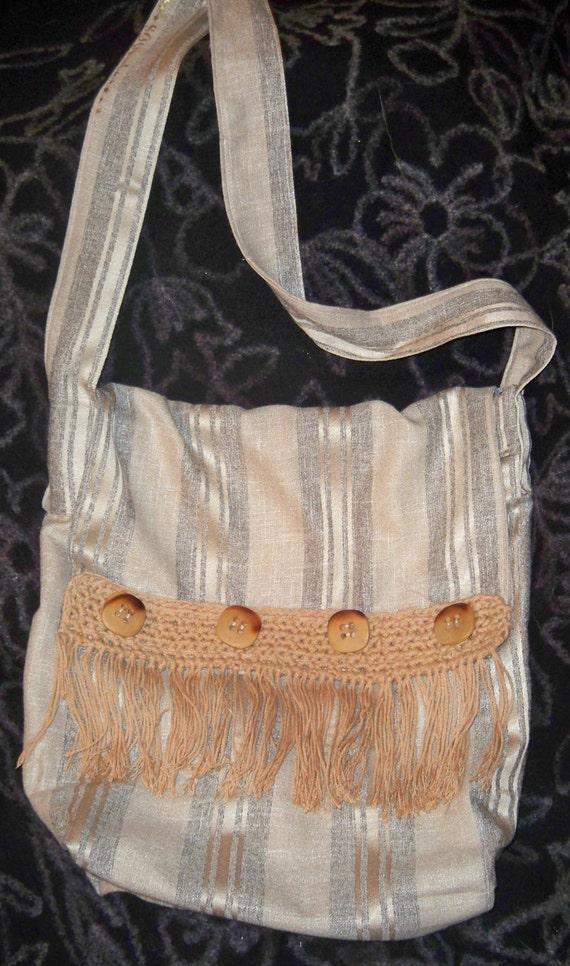 Beige Stripes Fringed Bag Handmade Beige Messenger Southwestern Design Wood Buttons Braid Beige Shoulder Bag Front Flap  #SophieLadyDeParis