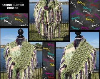 Stunning Purple & Green Custom Made One of a kind Crochet Ultra Fringe Scarf