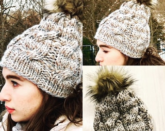 BFC Beanie Knitting Pattern; Hat Knitting Pattern PDF, Instant Download, Cable Hat Pattern
