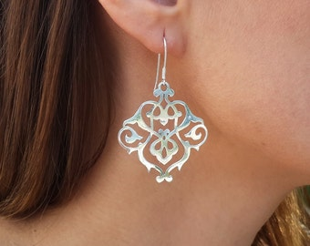 Sterling Silver Earrings - The Treasures of Persia - Dangle earrings with Persian Ornament - adorable!