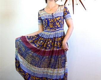 Vintage Indian Gauze Hippie Print Dress Boho Chic Crinkle Rayon Blue Brown Short Sleeve Floral Festival 90s Ethnic Long Dress Made in India