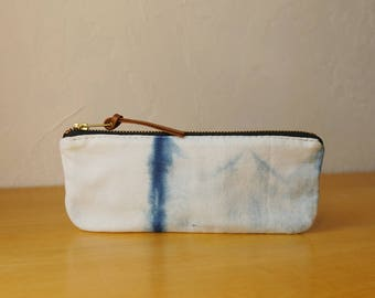 Natural Indigo Zipper Pouch // Shibori no. 5