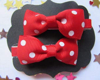 Red and White Polka Dot Hair Slides
