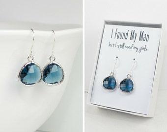Navy Blue Quartz Silver Earrings, Navy Silver Earrings, Blue Silver Earrings, Bridesmaid Earrings, Bridesmaid Gift, Wedding Jewelry