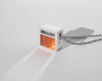 Modern Necklace – Minimalist Contemporary Jewelry – Orange Pendant Necklace