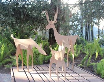 32in tall Cardboard Christmas Deer Family